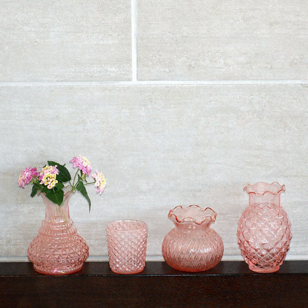 Pink Pressed Glass Ruffle Vase Rental