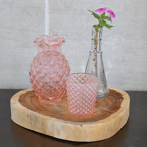 Pink Geometric Glass Votive