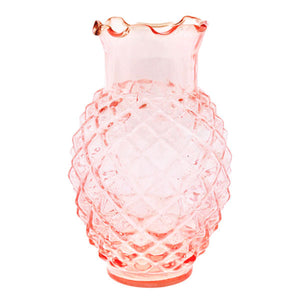 Vintage Pink Pressed Glass Pineapple Vase Rental
