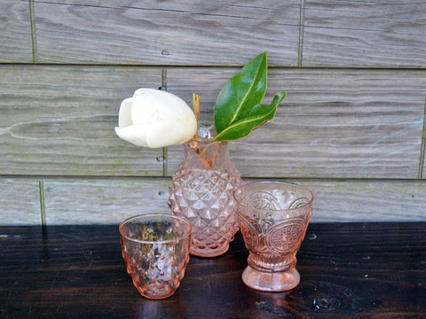 Vintage Pink Pressed Glass Pineapple Vase