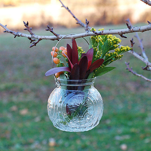 Floral Pressed Glass Hanging Jar