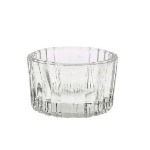 Pressed Glass Ribbed Votive