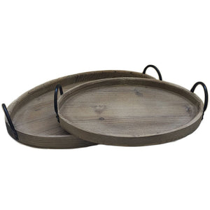 Santa Cruz Nested Wooden Trays with Handles Rental