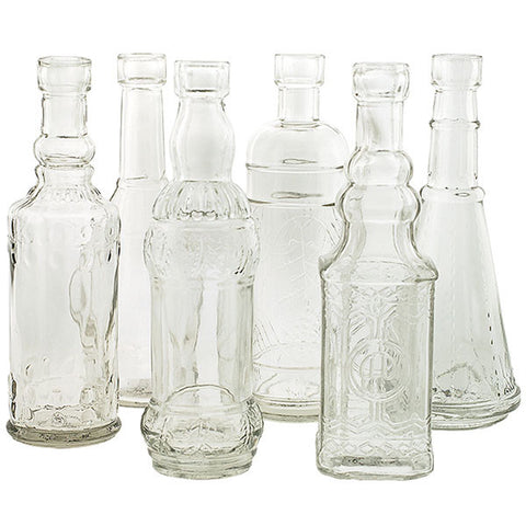Set of 6 Vintage Inspired Medicine Bottle Vases Rental