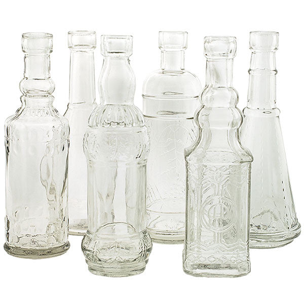 Set of 6 Vintage Inspired Medicine Bottle Vases