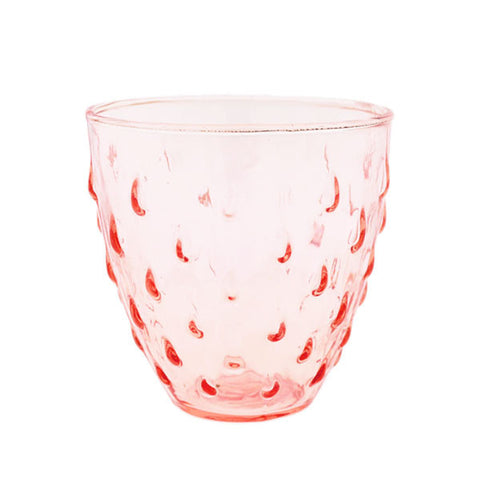 Vintage Pink Pressed Glass Strawberry Votive