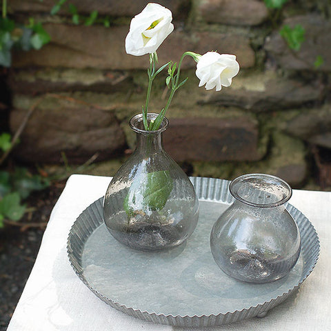 Recycled Grey Glass Bud Vase