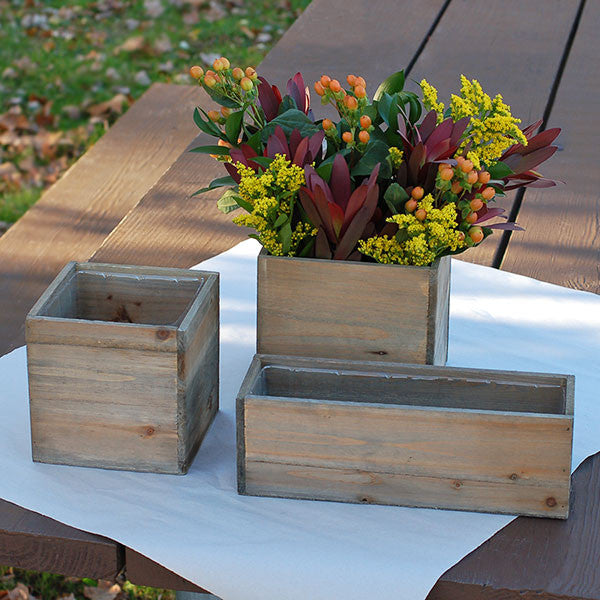 Rectangular Wooden Planter Box Rental Stylwed