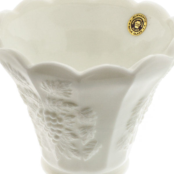 Vintage Milk Glass Grape Motif Tulip Vase