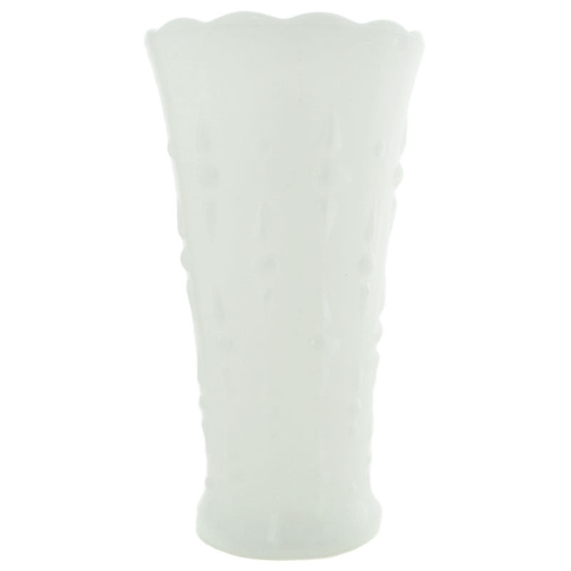Vintage White Milk Glass Tall Textured Vase
