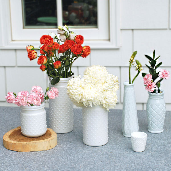 Decorative Milk Glass Bud Vase Rental