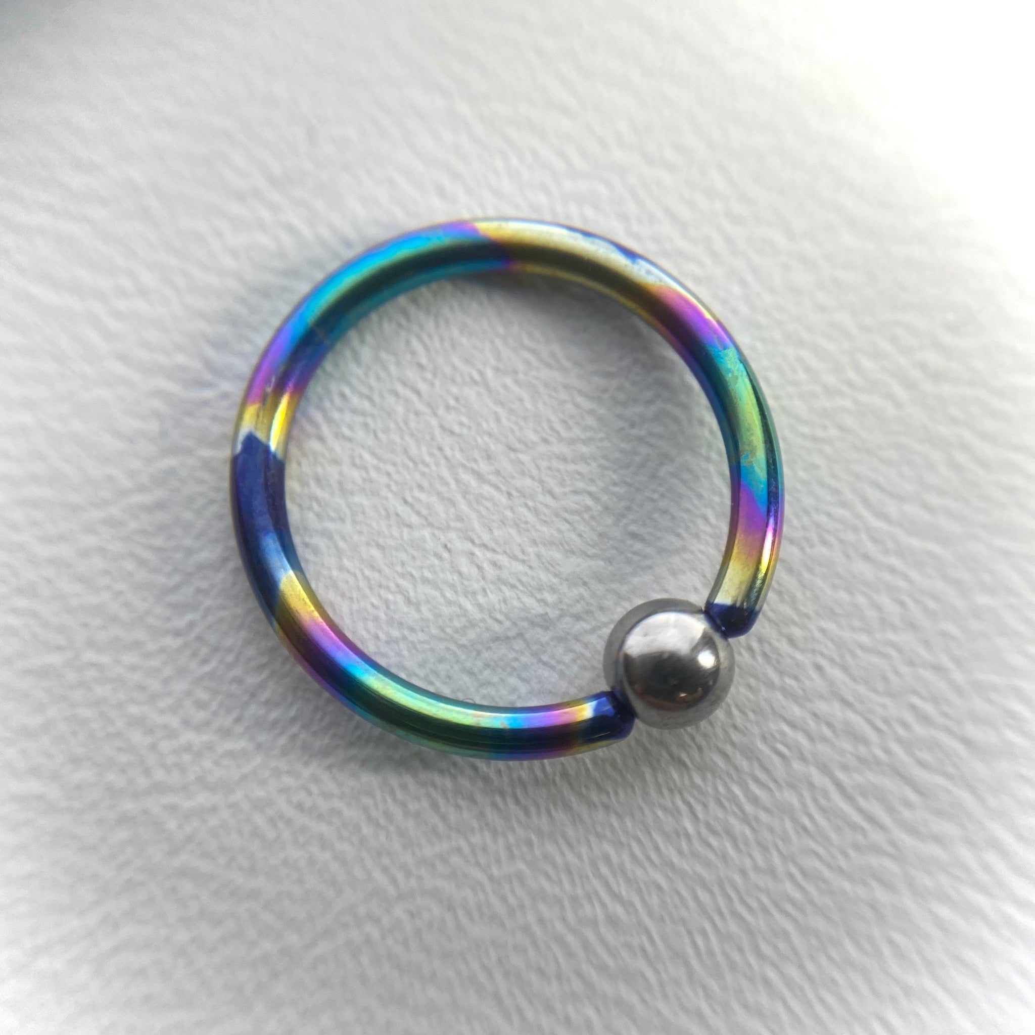 14g Titanium Captive Bead Ring w Plain Bead (CBR)
