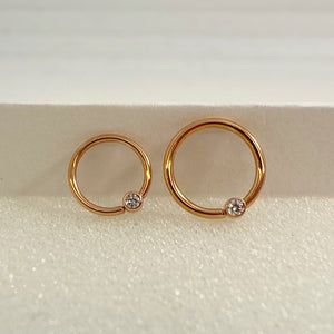 Gold Fixed Bead Ring w/CZ Nipple Orientation (BVLA)