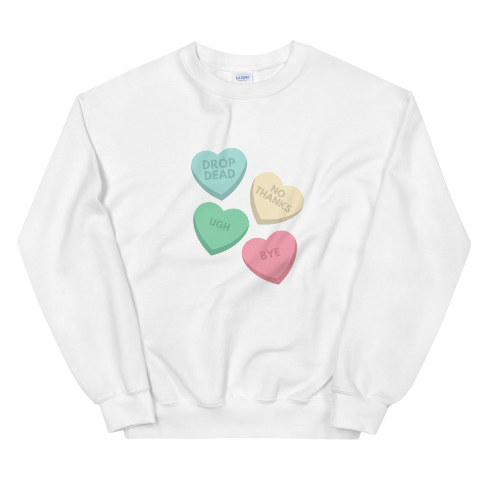 Anti V-Day  Candy Hearts Crewneck Sweatshirt