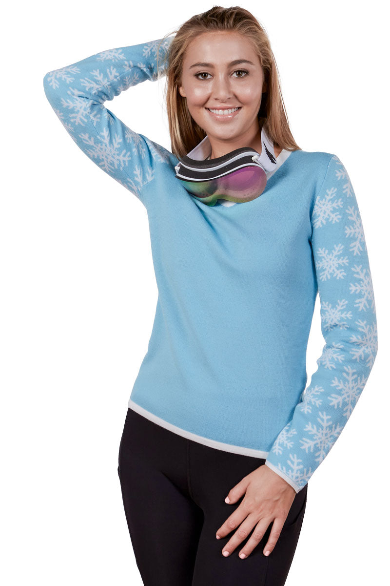 Powder Blue Women's Ski Sweater 100% Merino