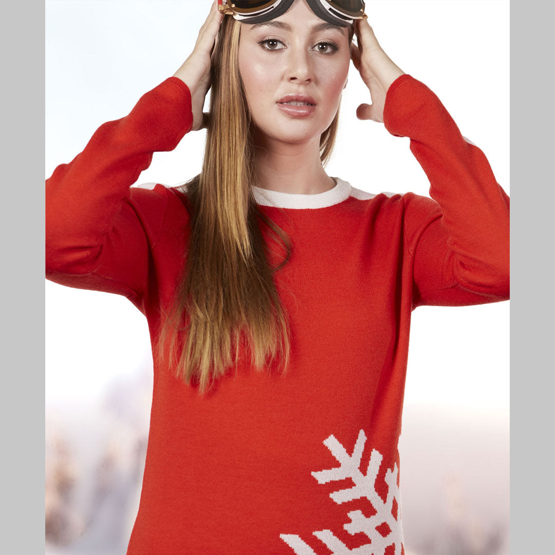 Women's Red Ski Sweater