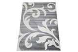 Off White Grey Floral Pattern Area Rug
