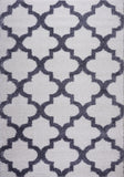 Ladole Rugs Shaggy Moroccan Trellis FES Polypropylene Area Rug Carpet White Dark Gray