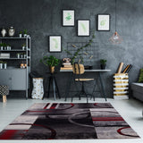 Adonis Currant Red Grey Area Rug