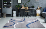 Ladole Rugs Beautiful Soft Turkish Gray Blue Contemporary Spriral Area Rug Carpet