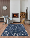 "Ladole Rugs Shaggy Rabat Abstract Pattern Sustainable Spirals Style Indoor Small Mat Doormat Rug in Blue White, 1'10"" x 2'11"" (57cm x 90cm)"