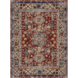Sylvia Flatweave Distressed Pattern Brick Red Beige Area Rug