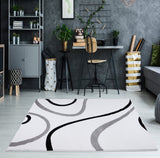 Turkish White Contemporary Spirals Area Rug
