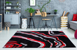Calvin Black Red Abstract Area Rug