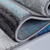 Ladole Rugs Adonis Collection Geometric Turquoise Black and Grey Polypropylene Area Rug