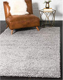 Grey Solid Shaggy Area Rug