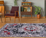 Grayton Traditional Gray Red Area Rug