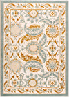 "Ladole Rugs Abstract Traditional Pattern Turkish Beige Blue White Contemporary Area Rug Carpet, 4x6 (3'11"" x 5'3"", 120cm x 160cm)"