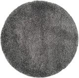 Dark Grey Solid Shaggy Area Rug