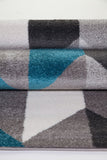 Turquoise Gray Honeycomb Area Rug -