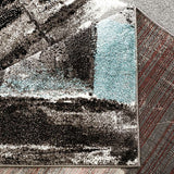 Blue and Black Abstract Modern Area rug