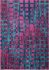 Grand Square Pink Turquoise Area Rug