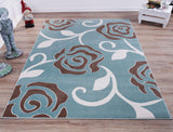 Light Blue Rose Pattern Area Rug