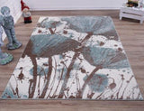 Light Blue Cream Poppy Flower Area Rug
