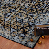 Diamond Gold Triangle Pattern Area Rug -