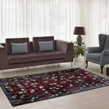 Diamond Currant Red Triangles Area Rug -