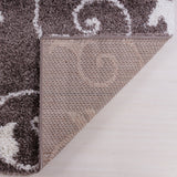 Ladole Rugs Shaggy Rabat Abstract Pattern Sustainable Spirals Style Indoor Small Mat Doormat Rug in Mink White