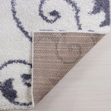"Ladole Rugs Shaggy Rabat Abstract Pattern Sustainable Spirals Style Indoor Small Mat Doormat Rug in White Dark Gray, 1'10"" x 2'11"" (57cm x 90cm)"