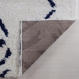 "Ladole Rugs Shaggy Kenitra European Abstract Soft Polypropylene Modern Small Mat Doormat Rug in White Dark Blue, 1'10"" x 2'11"" (57cm x 90cm)"