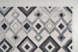 Lucas Dark Light Grey Modern Geometric Area Rug Diamond Pattern