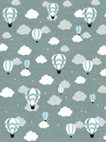 Kids Baloon Grey and Blue Flat Pile Area Rug