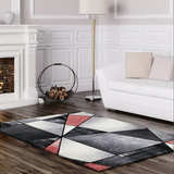 Emperor Abstract Red Gray Area Rug -