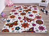 Cream Multi Color Flowers Butterflies Area Rug