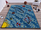 Teal Yellow Universe Area Rug