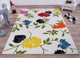 Cream Multi Floral Area Rug
