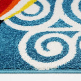 Hot Balloon Design Blue Multi Area Rug